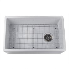 30 Inch White Fireclay Farmhouse Sink Offset Drain with Grid