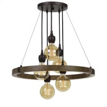 60w X 5 Martos Metal/Wood Chandelier. (Edison Bulbs Included)
