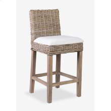 Durham Rattan Counterstool w/ Upholstered Seat and Wood Base (18x20x36)