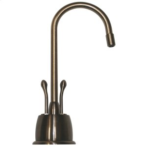 Point of Use instant hot/cold water faucet with a gooseneck spout and a self-closing hot water handle. Product Image