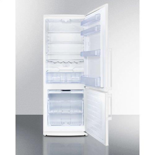 "Counter Depth Bottom Freezer Refrigerator In Slim 24"" Width and White Finish"