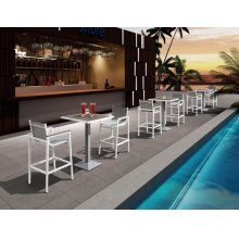 Renava Gulf Outdoor White & Grey Bar Table Set