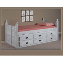 Twin Panel Post Captain Bed w/Six-Drawer Under Bed Unit