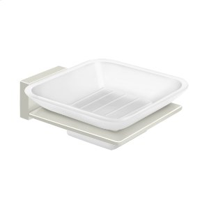 Frosted Glass Soap Dish, 55D Series - Polished Nickel Product Image