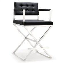Director Black Stainless Steel Counter Stool