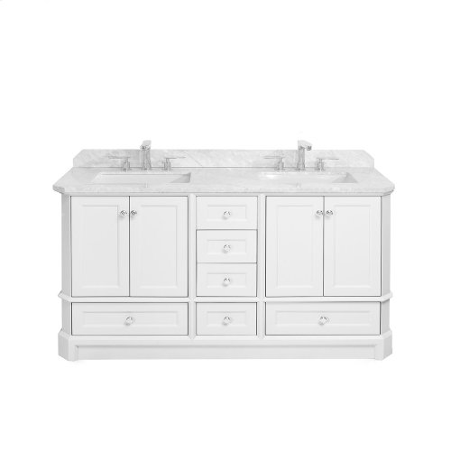 Walnut Brown RICHMOND 60-in Double-Basin Vanity Cabinet with Carrara Marble Stone Top and Muse 18x12 Sink