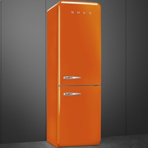 """Approx 24"""" 50'S Style refrigerator with automatic freezer, Orange, Right hand hinge"""