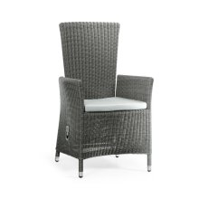 Grey Wicker Rattan Dining Chair with Reclining Back, Upholstered in COM