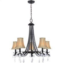 5 Lites Chandelier Lamp - Dark Brz/fabric Shade, E12 B 60wx5
