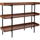 """Mayfair 3 Shelf 35""""H Storage Display Unit Bookcase with Black Metal Frame in Rustic Wood Grain Finish Product Image"""