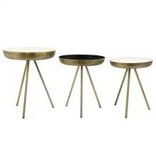 Dane KD Side Table Set of 3, Antique Brass/White/Black