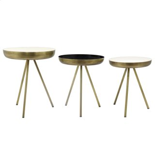 Dane KD Side Table Set of 3, Antique Brass/White/Black