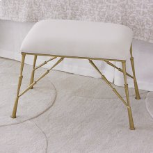 Spike Bench w/Muslin Cushion-Antique Brass