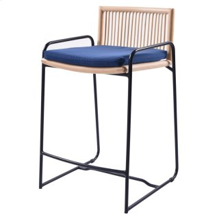 Virza Rattan Counter Stool, Deep Blue