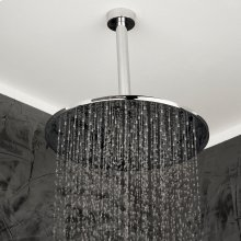 Ceiling-mount tilting round rain shower head, 126 rubber nozzles. Arm and flange sold separately.