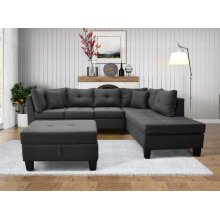 9123 Linen Fabric Sectional Sofa - Right