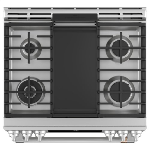 """Café 30"""" Smart Slide-In, Front-Control, Gas Range with Convection Oven"""