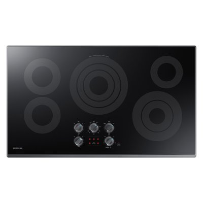 "36"" Electric Cooktop in Black Stainless Steel Product Image"