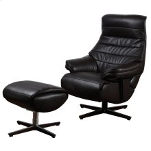 FARREN CHAIR & OTTOMAN  Faux Brown Leather on Hardwood Frame