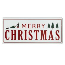 "Oversized Red & White Enamel ""Happy Holiday's"" Wall Decor."