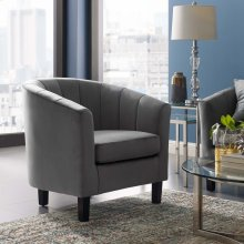 Prospect Channel Tufted Performance Velvet Armchair in Gray