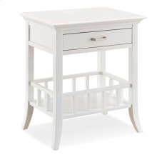 Basket Shelf White Night Stand/Side Table with Top AC/USB Charging #9070-WT