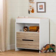 2-Drawer Changing Table - Pure White and Rustic Oak