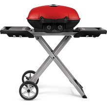 TravelQ 285X with Scissor Cart and Griddle , Red , Propane