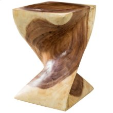 Natural  12in X 18in X 12in Natural Twisted Sugar Wood Stool