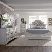 Queen Uph Bed, Dresser & Mirror, Chest
