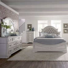 Queen Uph Bed, Dresser & Mirror, Chest