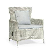 "34"" White Wicker Rattan Sofa Chair with Reclining Back, Upholstered in COM"