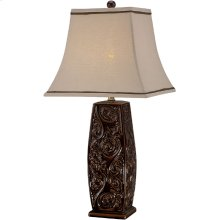 Table Lamp - Coffee Ceramic Body/fabric Shade, E27 A 100w