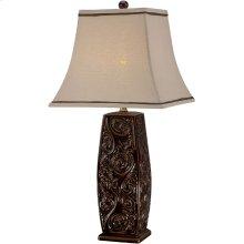 Table Lamp - Coffee Ceramic Body/fabric Shade, E27 A 100w