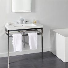 Floor-standing metal console stand with a towel bar (Bathroom Sink 5212 sold separately), made of stainless steel or brass. It must be attached to wall.