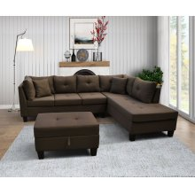 9129 Linen Fabric Sectional Sofa - Right