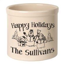 Personalized Snowman Family 2 Gallon Stoneware Crock - Black Engraving / Bristol Crock