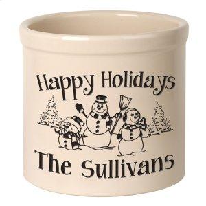Personalized Snowman Family 2 Gallon Stoneware Crock - Black Engraving / Bristol Crock Product Image