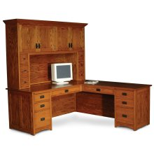 Prairie Mission L-Shape Desk, Prairie Mission L-Shape Desk, Left Return, Flat-Panel Back