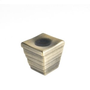 Antique Brass Forged 2 Large Cube Knob 1 3/8 Inch Product Image