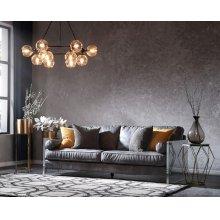 Divani Casa Lawton Modern Grey Leather & Acrylic Sofa