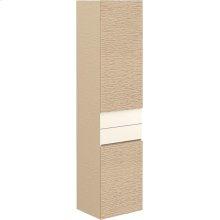 Tall cabinet - Bright Oak/Glass Crème