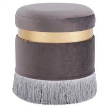 Suri Velvet Fabric Fringe Round Storage Ottoman, Serene Dark Gray/ Gold