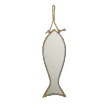 Small Distressed Blue Fish Mirror on Rope Hanger