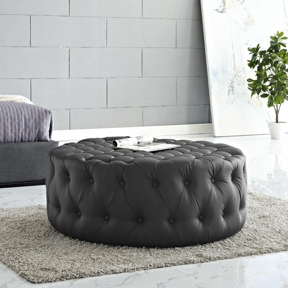 Amour Upholstered Vinyl Ottoman in Black