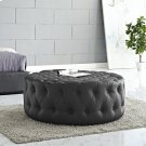 Amour Upholstered Vinyl Ottoman in Black Product Image