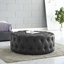 Amour Upholstered Vinyl Ottoman in Black