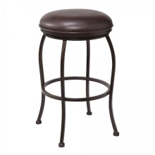 "Amy Contemporary 30"" Bar Height Barstool in Auburn Bay Finish and Brown Faux Leather"