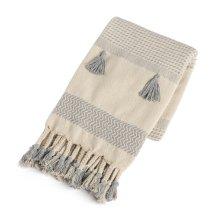 Cream & Grey Pattern Stripe Throw with Braided Tassels