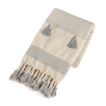 Cream & Grey Pattern Stripe Throw with Braided Tassels